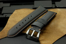 24mm Black Brown Diver Kevlar Leather Watch Strap+PVD Buckle for Panerai Watch