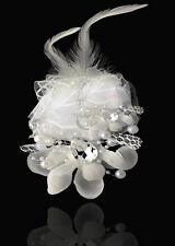 New 1pcs Headdress Flower Feather Rhinestone Hair Pin Brooch Clip white