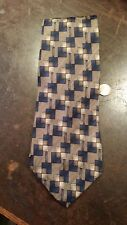 DANIEL HECHTER BLUE BROWN GEOMETRIC PATTERN DESIGNER MENS NECKTIE FREE SHIPPING