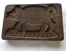Antique Wood Carved Pig Cookie Butter Mold Folk Art Wooden Primitive Boar Hog