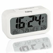 Peakeep Digital Alarm Clock Battery Operated with Large Display, Dual Alarm, Sno