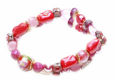 MIX COLOR & MIX STONE STRETCH BRACELET,ROSE PEARLS & CRYSTAL LIKE STONES(ZX49)