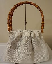 GUCCI White Perforated Leather Bamboo Handbag Purse Bag Pouch NWOT NEW! $2350