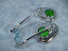 PAIR  CHROME REAR VIEW BICYCLE V CLUB MIRRORS  W/GREEN REFLECTOR