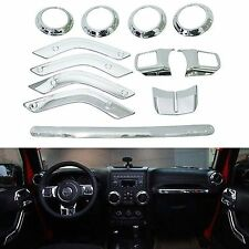 12PC Chrome Interior Accessories Decoration Cover for Jeep Wrangler 4 Door 11-15