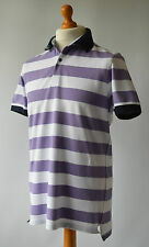 Men's Purple & White Striped Massimo Dutti Polo Shirt Size L, Large.
