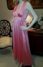 Vtg Vanity Fair Sunset Pink Long Grecian Goddess Nightgown Silky Nylon Sz 32