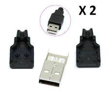 2pz  USB Spina Connettore da Assemblare a Saldare Tipo A Maschio a 4 pin