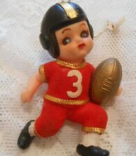 Vtg Xmas Ornament American Football Player, Plastic, Japan