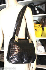 Vintage Gianni Versace Black Moc Crocodile Alligator Croc Shoulder Bag Italy