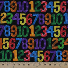 123 to the Zoo Counting Numbers Kids Black Cotton Fabric Print by Yard D675.27