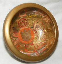ANTIQUE TOBACCIANA FOLK ART CIGAR BAND GLASS BRASS BOWL FLOR FINA BAIZE BASE
