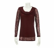 Dennis Basso Cowl Neck Allover Stretch Lace Tunic Cami Burgundy XL NEW A228743