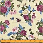 "MAKOWER UK SUMMER GARDEN COTTON FLORAL ROSES BOUQUETS FABRIC FQ 18"" X22"" #P"