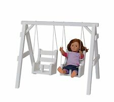 """18"""" Doll PLAYGROUND Swing Set Wooden Furniture American Made Gift for Girl White"""