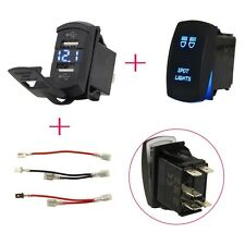 2 Position ON-OFF Laser Rocker Switch Toggle Panel Dual USB Charger Voltage Car
