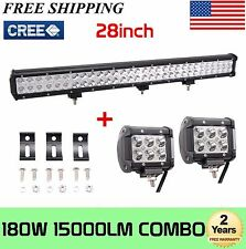 28INCH 180W CREE  COMBO LED LIGHT BAR 4WD boat UTE driving ATV FREE 2X18W LIGHT