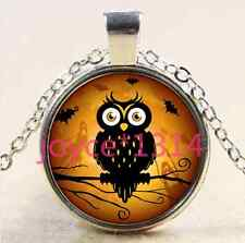 Vintage owl in tree Cabochon Tibetan silver Glass Chain Pendant Necklace@XP-2468