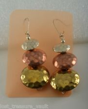 Vintage Dangle Earrings Silver Copper Gold Tone Metal Made in India