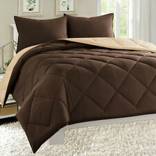 Empire 3pc Reversible Comforter Set Microfiber Quilted Bed Cover Soft Bedding