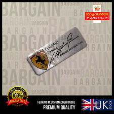 MICHAEL SCHUMACHER SIGNED SPECIAL EDITION BRUSHED FERRARI EMBLEM BADGE F1 458