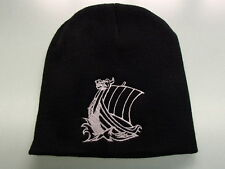Scandinavian Viking Ship Embroidered on Black Knit Beanie Hat KH68