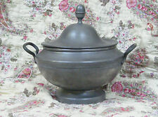 French Antique / Vintage heavy Pewter soupier tureen centre piece Gustavian look