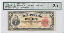 "1941 Philippines 1 Peso, ""Naval Aviators' Issue"" PMG 25 Very Fine P#: 89c"
