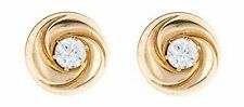 9ct Yellow Gold 3mm CZ crystal dome stud earrings / Studs / Gift box