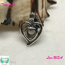 Double Heart Pearl Cage Pendant - Silver Plated Fit Up To 8mm Fun Gift!!