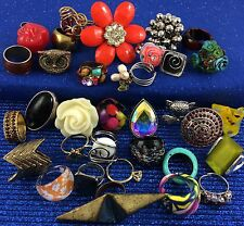 30+ Costume Ring Lot All Sizes Some Adjustable Glass Cocktail Statement Metal