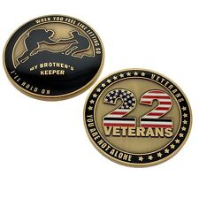 Veterans Awareness Challenge Coin 22 USA Flag Suicide Prevent Memorial Military