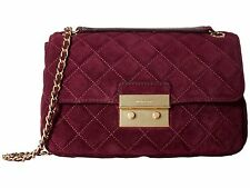 NWT MICHAEL KORS LARGE SLOAN SUEDE SHOULDER BAG PLUM