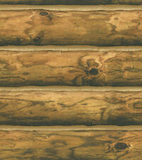 York Mountain Rustic Log Cabin Logs Wallpaper Burnt Orange CH7980 FREE SHIPPING