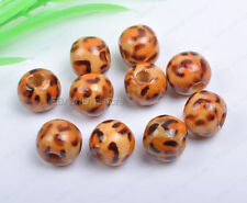 50Pcs 10MM brown wood leopard print round loose beads DIY Findings