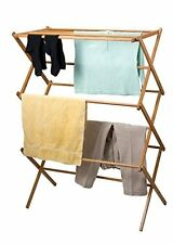 """DRY Folding 42"""" Clothes Drying Laundry Towel Rack Collapsible Folds Wood Storage"""