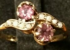 Antique Victorian 10kt. Rose Gold Garnet and Pearl Ring