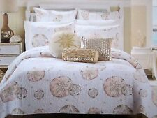 NICOLE MILLER COASTAL Sand Dollar KING QUILT Coral Tan Taupe TROPICAL BEACH NEW