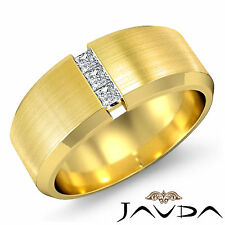 3 Stone Men Half Wedding Band Princess Diamond Bezel Ring 14k Yellow Gold 0.25Ct