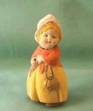 "Nodder doll, lady w. bonnet a. molded clothing, antique/3.25""/1920s"