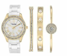 New Anne Klein Women's 12/2256GBST Ceramic Gold Tone Watch Bracelet Set Gift