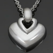 BULGARI 18k White Gold Heart Pendant Necklace