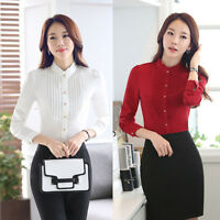 Sexy Fashion Womens OL Style Chiffon Long Sleeve Slim Casual Blouse Tops T-Shirt