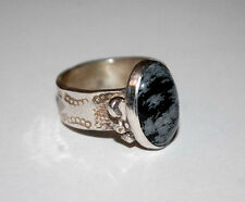 Golden Bear Valley Vail Colorado STERLING 925 SNOWFLAKE OBSIDIAN RING SIZE 7.5