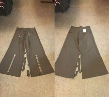 BNWT Black/White Pinstriped Zip/Bondage Straps Trousers Goth/Punk/Steampunk W34