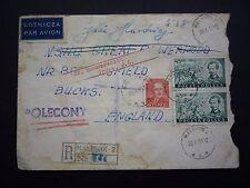 Poland 1951 registered cover en angleterre-polecony annuler