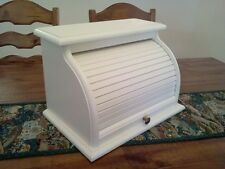 HAND CRAFTED SOLID PINE ROLL TOP BREADBOX FINISHED IN ANTIQUE WHITE