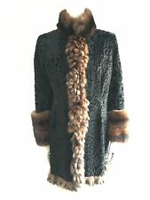 AMAZING PERSIAN LAMB ASTRAKAN AND SABLE TRIM FUR COAT SIZE S SMALL