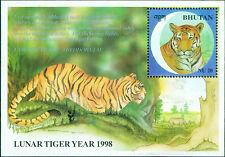 Zoo- Bhutan 1998 #1188 New Year of Tiger Miniature Sheet Mint.