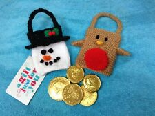 KNITTING PATTERN - Snowman and Robin gift bags Christmas tree decorations